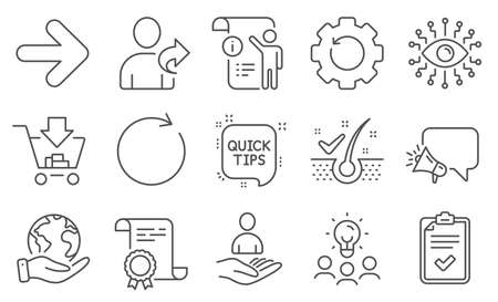 Set of Technology icons, such as Artificial intelligence, Checklist. Diploma, ideas, save planet. Quick tips, Megaphone, Refer friend. Next, Recovery gear, Shopping. Vector