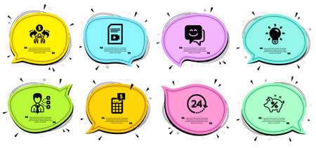 Third party, Sharing economy and Calculator signs. Chat bubbles with quotes. Smile face, Video file and Light bulb line icons set. Loan percent, 24 hours symbols. Chat, Vlog page. Business set. Vector