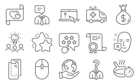 Set of Business icons, such as Hiring employees, Computer mouse. Diploma, ideas, save planet. Frying pan, Love letter, Money bag. Ambulance car, Face declined, Smartphone glass. Vector Иллюстрация