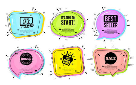 It's time to start. Big buys, online shopping. Special offer sign. Advertising discounts symbol. Quotation bubble. Banner badge, texting quote boxes. Time to start text. Coupon offer. Vector