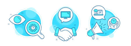 Safe time, Question mark and Online documentation line icons set. Handshake deal, research and promotion complex icons. Monitor sign. Hold clock, Quiz chat, Web engineering. Computer component. Vector