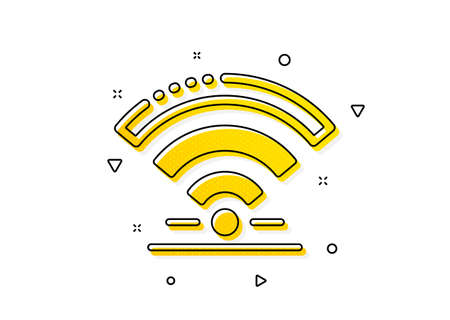 Wireless internet sign. Wifi icon. Hotel service symbol. Yellow circles pattern. Classic wifi icon. Geometric elements. Vector