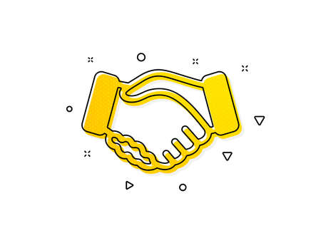 Hand gesture sign. Handshake icon. Business deal palm symbol. Yellow circles pattern. Classic handshake icon. Geometric elements. Vector Ilustracja