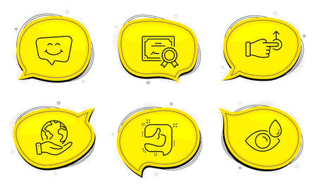 Eye drops sign. Diploma certificate, save planet chat bubbles. Like, Smile chat and Drag drop line icons set. Thumb up, Happy face, Move. Check vision. Business set. Outline icons set. Vector