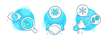 Startup, Time management and Snowflake line icons set. Handshake deal, research and promotion complex icons. Water drop sign. Developer, Alarm clock, Snow. Crystal aqua. Science set. Vector Ilustracja