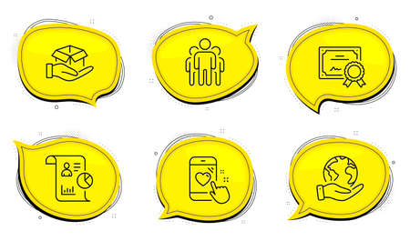 Hold box sign. Diploma certificate, save planet chat bubbles. Heart rating, Group and Report line icons set. Phone feedback, Managers, Work statistics. Delivery parcel. People set. Vector Ilustracja