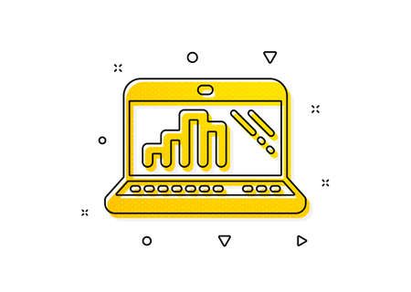 Column chart sign. Graph laptop icon. Growth diagram symbol. Yellow circles pattern. Classic graph laptop icon. Geometric elements. Vector 일러스트