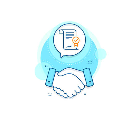 Verified document sign. Handshake deal complex icon. Approved agreement line icon. Accepted or confirmed symbol. Agreement shaking hands banner. Approved agreement sign. Vector