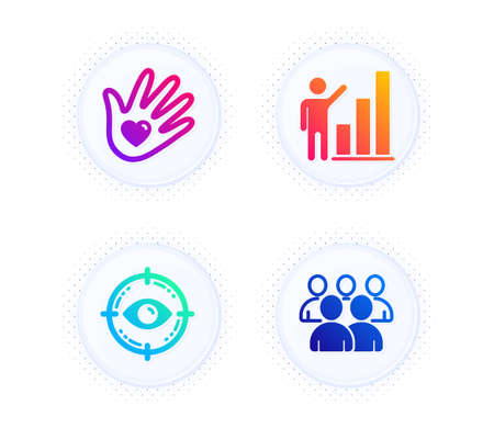 Eye target, Graph chart and Social responsibility icons simple set. Button with halftone dots. Group sign. Optometry, Growth report, Helping hand. Developers. People set. Vector