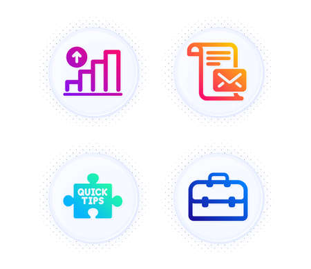 Quick tips, Mail letter and Graph chart icons simple set. Button with halftone dots. Portfolio sign. Tutorials, Read e-mail, Growth report. Business case. Education set. Vector