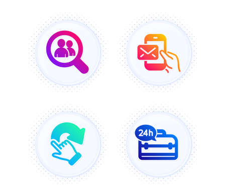 Messenger mail, Rotation gesture and Search employees icons simple set. Button with halftone dots. 24h service sign. New e-mail, Undo, Staff analysis. Support. Business set. Vector