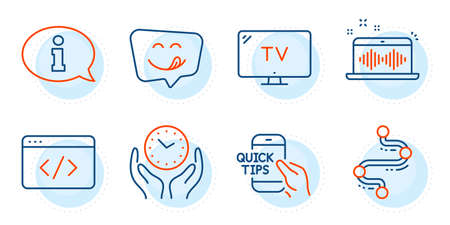 Seo script, Yummy smile and Music making signs. Information, Safe time and Tv line icons set. Timeline, Education symbols. Info center, Hold clock. Technology set. Outline icons set. Vector