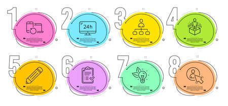 User, Augmented reality and Eco energy signs. Timeline steps infographic. Pencil, Recovery devices and 24h service line icons set. Approved checklist, Management symbols. Vector Ilustracja