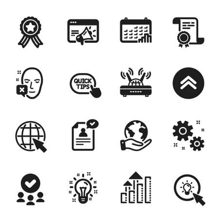 Set of Science icons, such as Quick tips, Wifi. Certificate, approved group, save planet. Work, Swipe up, Energy. Seo marketing, Resume document, Idea. Calendar graph, Internet, Analysis graph. Vector