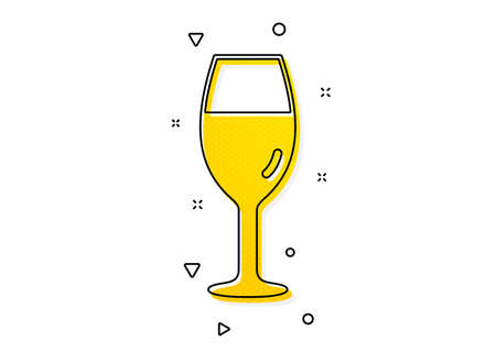 Burgundy glass sign. Wine glass icon. Yellow circles pattern. Classic wineglass icon. Geometric elements. Vector