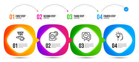 Clock, Idea and Tutorials line icons set. Timeline steps. Project deadline sign. Time, Professional job, Quick tips. Time management. Education set. Infographic options banner with clock icon. Vector