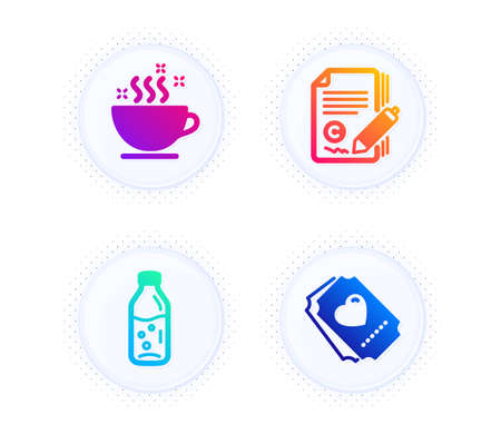 Water bottle, Coffee cup and Copywriting icons simple set. Button with halftone dots. Love ticket sign. Soda drink, Hot drink, Copyright signature. Heart. Business set. Vector