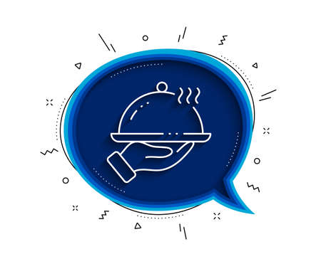 Restaurant food line icon. Chat bubble with shadow. Dinner sign. Hotel room service symbol. Thin line restaurant food icon. Vector Ilustracja
