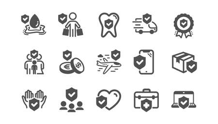 Insurance icons set. Family risk, Health care, help service. Car accident, flood insurance, flight protection icons. Safety document, money savings, delivery risk. Car full coverage. Vector