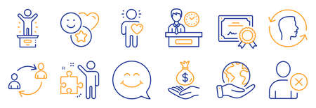 Set of People icons, such as Smile, Strategy. Certificate, save planet. Income money, Delete user, Winner podium. User communication, Presentation time, Friend. Face id, Smile face line icons. Vector Vettoriali