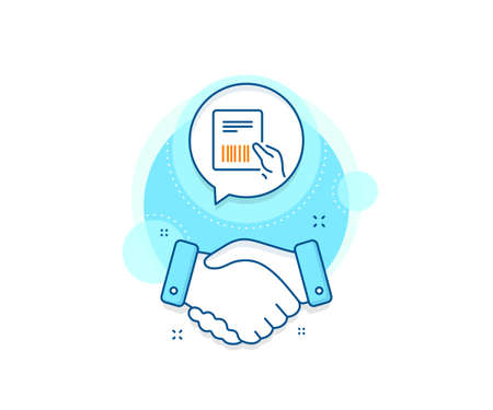 Delivery document sign. Handshake deal complex icon. Parcel invoice line icon. Package shipping symbol. Agreement shaking hands banner. Parcel invoice sign. Vector