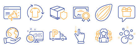 Set of Business icons, such as Women group, Change clothes. Certificate, save planet. Seo marketing, Almond nut, Touchscreen gesture. Web call, Wish list, Delivery insurance. Vector