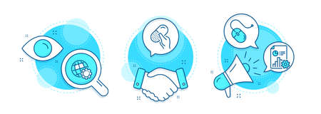 Capsule pill, Report and Computer mouse line icons set. Handshake deal, research and promotion complex icons. Globe sign. Medicine drugs, Presentation document, Pc device. Internet settings. Vector 일러스트