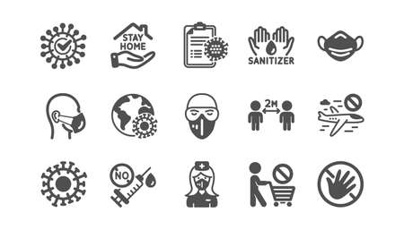 Coronavirus icons set. Medical mask, protective glasses, washing hands. Covid-19 virus pandemic. Stay home, hands sanitizer, coronavirus epidemic mask icons. No vaccine. Quality set. Vector Vettoriali