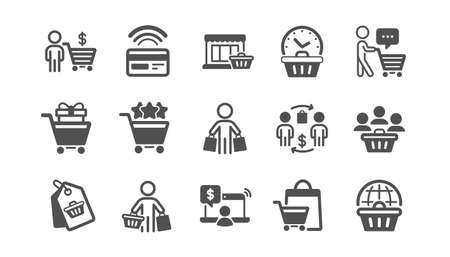 Buyer customer icons set. Group of people, contactless payment and shopping cart. Store, buyer loyalty card, client ranking set icons. Shopping timer, phone payment, currency. Quality set. Vector
