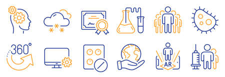 Set of Science icons, such as Monitor settings, 360 degrees. Certificate, save planet. Augmented reality, Thoughts, Snow weather. Chemistry lab, Medical tablet, Medical vaccination. Vector