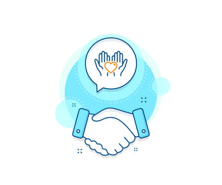 Friends love sign. Handshake deal complex icon. Hold heart line icon. Friendship hand symbol. Agreement shaking hands banner. Hold heart sign. Vector