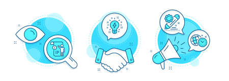 Manual doc, Project edit and Time management line icons set. Handshake deal, research and promotion complex icons. Inspiration sign. Project info, Settings, World clock. Creativity. Vector