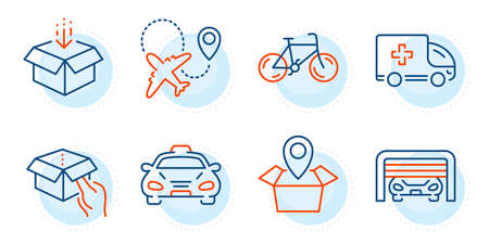 Get box, Bicycle and Taxi signs. Hold box, Airplane and Ambulance emergency line icons set. Parking garage, Package location symbols. Delivery parcel, Plane. Transportation set. Vector