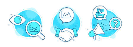 Question mark, Diagram and Diagram chart line icons set. Handshake deal, research and promotion complex icons. Exhibitors sign. Ask support, Growth graph, Presentation graph. Information desk. Vector 일러스트