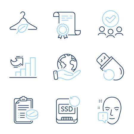 Recovery ssd, Flash memory and Medical prescription line icons set. Diploma certificate, save planet, group of people. Slow fashion, Face attention and Growth chart signs. Vector