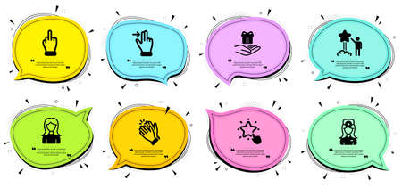 Oculist doctor, Woman and Clapping hands signs. Chat bubbles with quotes. Star, Ranking star and Touchscreen gesture line icons set. Middle finger, Loyalty program symbols. Vector