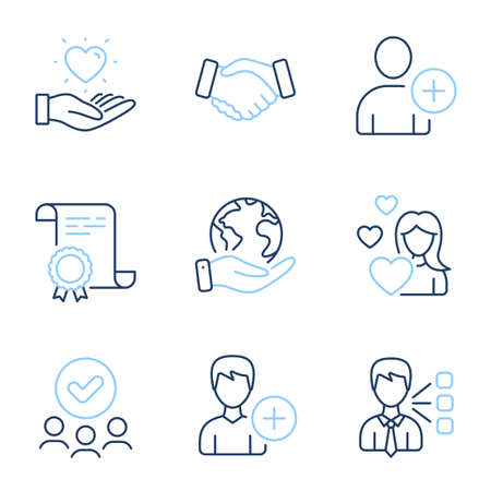 Add user, Handshake and Hold heart line icons set. Diploma certificate, save planet, group of people. Love, Add person and Third party signs. Profile settings, Deal hand, Love brand. Vector