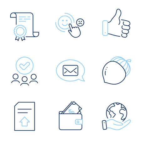 Customer satisfaction, Acorn and Messenger line icons set. Diploma certificate, save planet, group of people. Like hand, Upload file and Wallet signs. Happy smile, Oaknut, New message. Vector Foto de archivo - 150286279