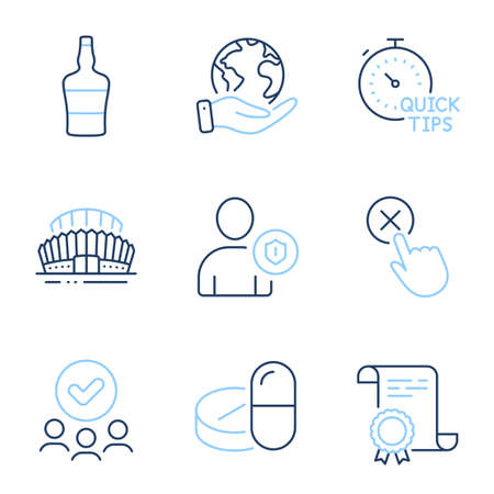 Reject click, Medical drugs and Quick tips line icons set. Diploma certificate, save planet, group of people. Sports stadium, Scotch bottle and Security signs. Vector Çizim