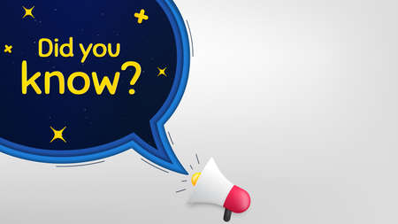Did you know. Megaphone banner with speech bubble. Special offer question sign. Interesting facts symbol. Loudspeaker with chat bubble. Night stars concept. Did you know promotion text. Vector