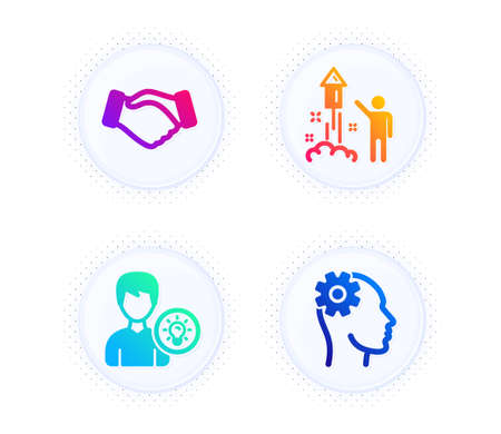 Fireworks, Person idea and Handshake icons simple set. Button with halftone dots. Engineering sign. Party pyrotechnic, Lamp energy, Deal hand. Cogwheel head. People set. Vector