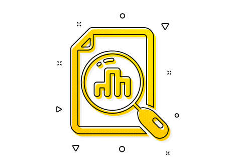 Column chart sign. Analytics graph icon. Growth diagram symbol. Yellow circles pattern. Classic analytics graph icon. Geometric elements. Vector