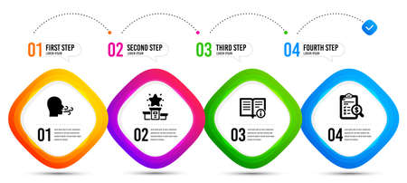 Winner podium, Breathing exercise and Technical info icons simple set. Timeline infographic. Accounting report sign. First place, Breath, Documentation. Check finance. Education set. Vector