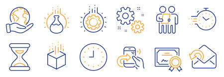 Set of Technology icons, such as Survey, Gear. Certificate, save planet. Augmented reality, Timer, Share call. Work, Clock, Chemistry experiment. Send mail, Time line icons. Vector Ilustracja