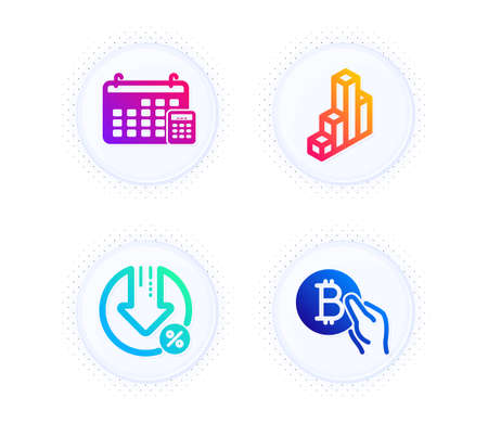 Loan percent, 3d chart and Calendar icons simple set. Button with halftone dots. Bitcoin pay sign. Decrease rate, Presentation column, Calculator device. Cryptocurrency coin. Finance set. Vector