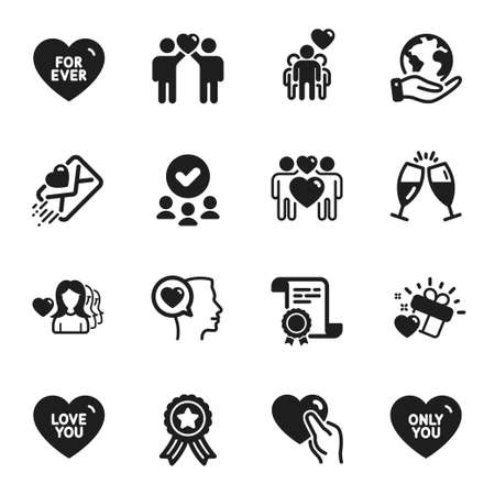 Set of Love icons, such as Only you, Love you. Certificate, approved group, save planet. Love letter, Friendship, Romantic talk. Champagne glasses, For ever, Friends couple. Vector