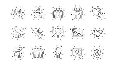Interaction, Mutual understanding and assistance business. Friendship and love line icons. Trust handshake, social responsibility icons. Linear set. Geometric elements. Quality signs set. Vector Vettoriali