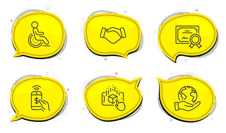 Handshake sign. Diploma certificate, save planet chat bubbles. Phone payment, Disability and Augmented reality line icons set. Mobile pay, Disabled person, Phone simulation. Deal hand. Vector