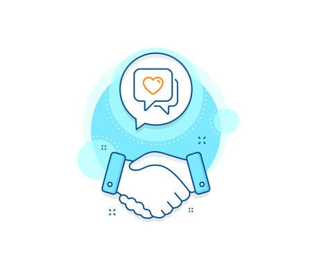 Love chat sign. Handshake deal complex icon. Heart line icon. Valentine day symbol. Agreement shaking hands banner. Heart sign. Vector