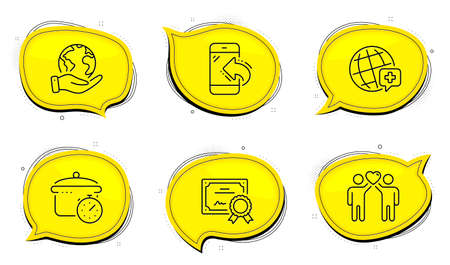 Incoming call sign. Diploma certificate, save planet chat bubbles. Boiling pan, World medicine and Friends couple line icons set. Cooking timer, Online medicine, Friendship. Phone support. Vector